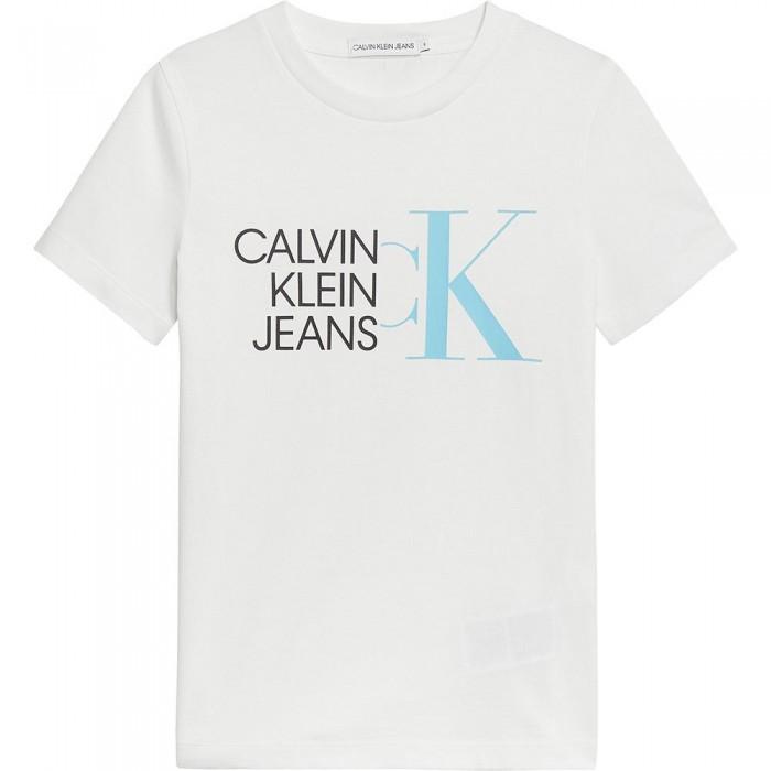 [해외]캘빈클라인 JEANS Hybrid Logo Fitted Short Sleeve T-Shirt 15137937216 Bright White