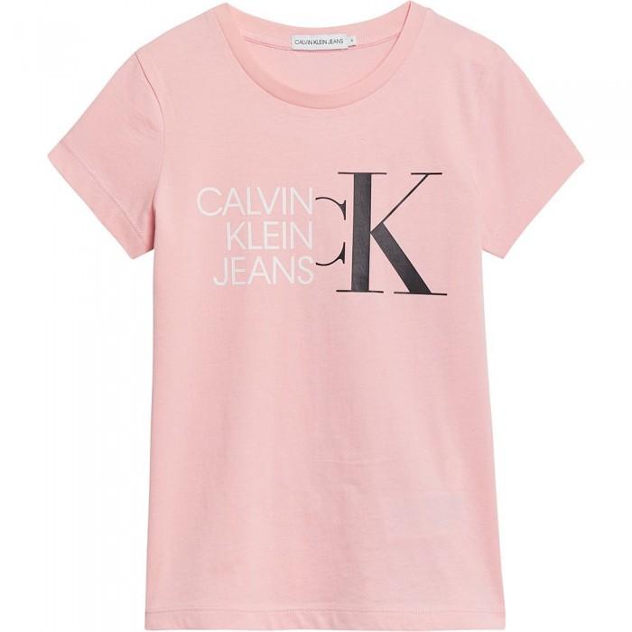 [해외]캘빈클라인 JEANS Hybrid Logo Slim Short Sleeve T-Shirt 15137937224 Sand Rose