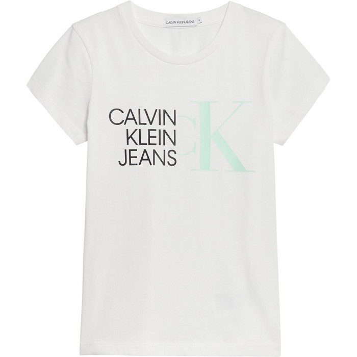 [해외]캘빈클라인 JEANS Hybrid Logo Slim Short Sleeve T-Shirt 15137937225 Bright White