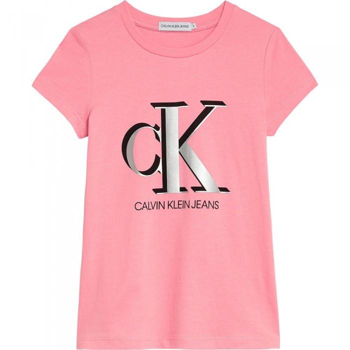 [해외]캘빈클라인 Contrast Monogram Slim Short Sleeve T-Shirt 15138049889 Soft Berry