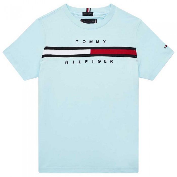 [해외]타미힐피거 KIDS Flag Rib Insert Short Sleeve T-Shirt 15138054645 Frost Blue