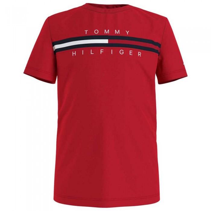 [해외]타미힐피거 KIDS Flag Rib Insert Short Sleeve T-Shirt 15138054647 Deep Crimson