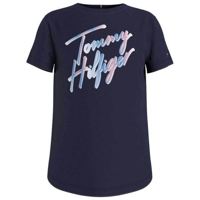 [해외]타미힐피거 KIDS Script Print Short Sleeve T-Shirt 15138054753 Twilight Navy