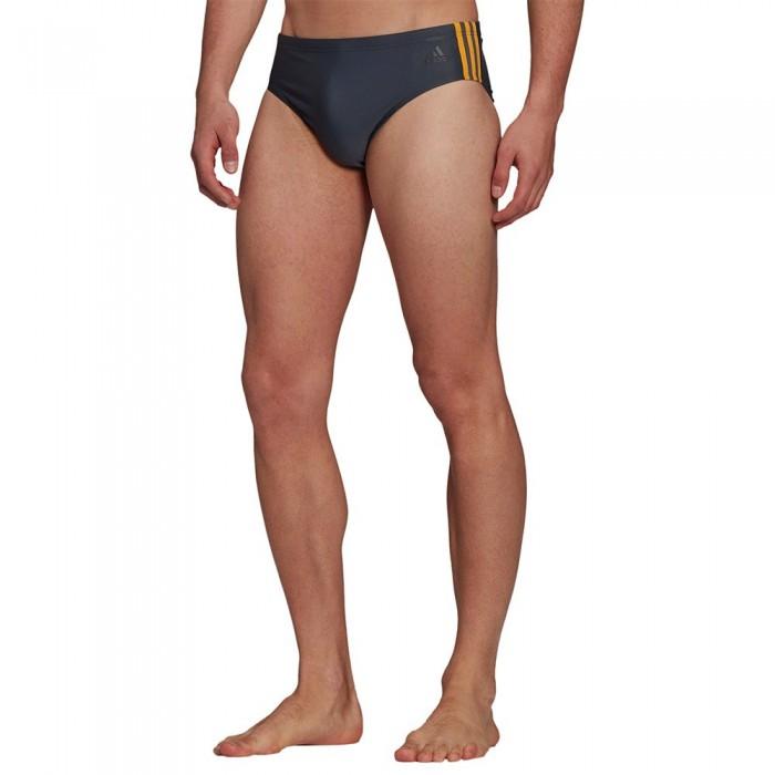 [해외]아디다스 Fit 3 Stripes Trunk Swimsuit 6138108839 Grey Six / Semi Solar Gold