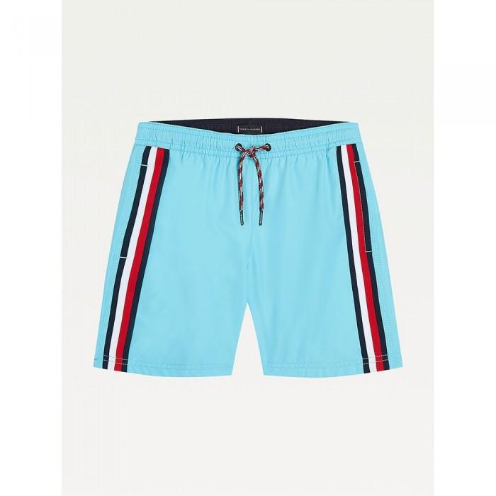 [해외]타미힐피거 언더웨어 Drawstring Stripe Detail Mid Length Swimming Shorts 15138136072 Fresh Aqua