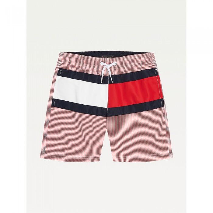 [해외]타미힐피거 언더웨어 Stripe And Flag Mid Length Swimming Shorts 15138136082 Hilfiger Primary Red Stripe