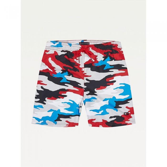 [해외]타미힐피거 언더웨어 Camouflage Print Mid Length Swimming Shorts 15138136083 Camo Primary Red
