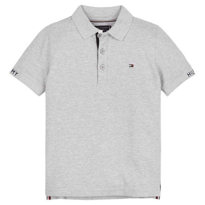 [해외]타미힐피거 KIDS Slim Fit Short Sleeve Polo Shirt 15138054655 Light Grey Heather
