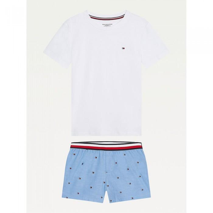 [해외]타미힐피거 언더웨어 Flag Embroidery Short Set Pyjama 15138136084 White / Ag / Mini / Flag / Repeat