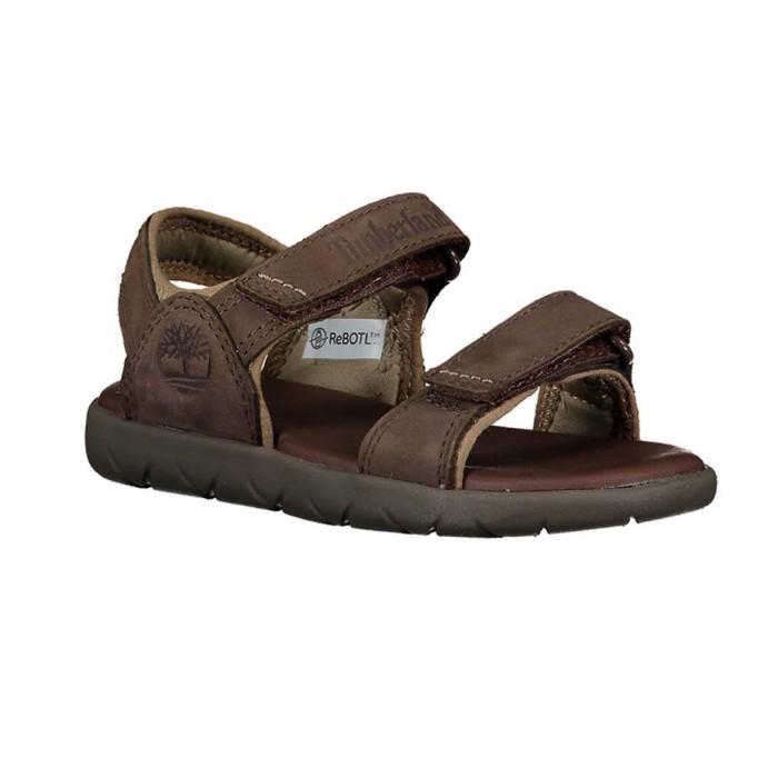 [해외]팀버랜드 Nubble Leather 2 Strap Youth Sandals 15137022850 Red Briar