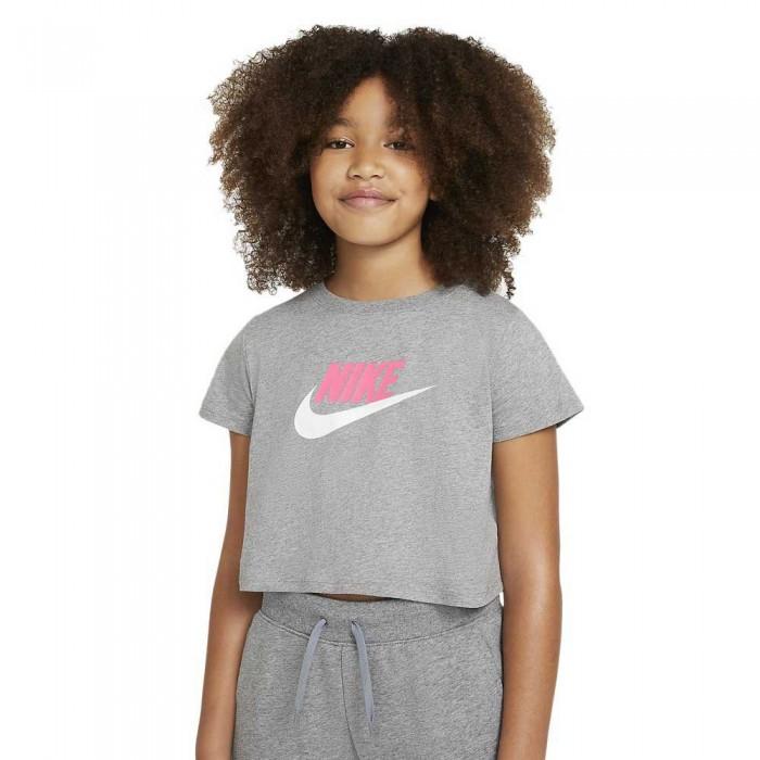 [해외]나이키 Cropped Short Sleeve T-Shirt 15137983674 Carbon Heather / Sunset Pulse