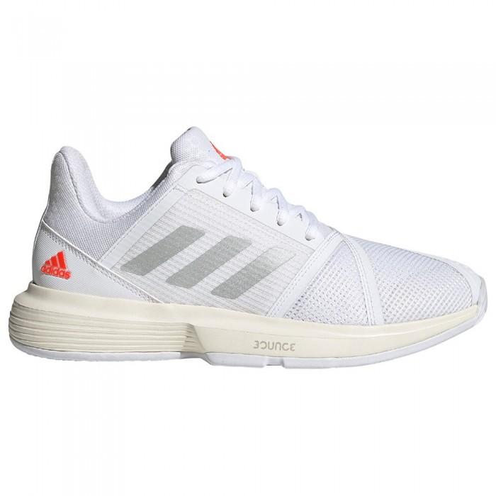 [해외]아디다스 Courtjam Bounce Shoes 12138104750 Ftwr White / Silver Metalic / Solar Red