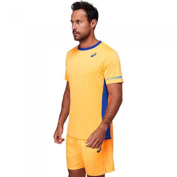 [해외]아식스 Padel Short Sleeve T-Shirt 12138131128 Orange Pop / Monaco Blue