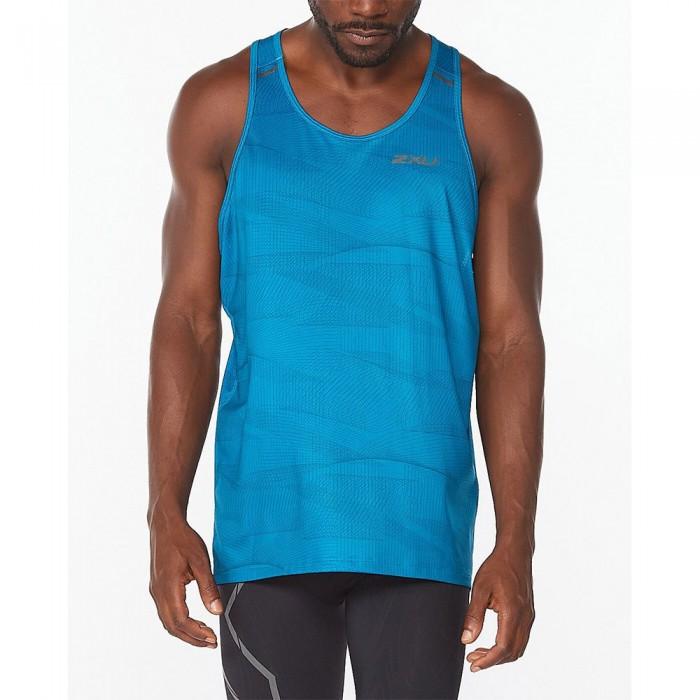 [해외]2XU Light Speed Sleeveless T-Shirt 6138230907 Linear Aquamarine / Black Reflective