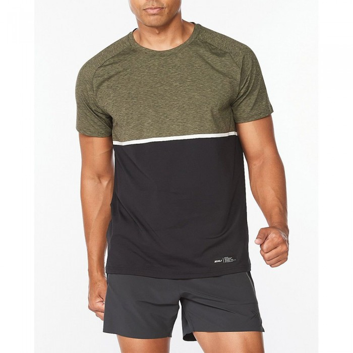 [해외]2XU Motion Colour Block Short Sleeve T-Shirt 6138230927 Alpine / Black