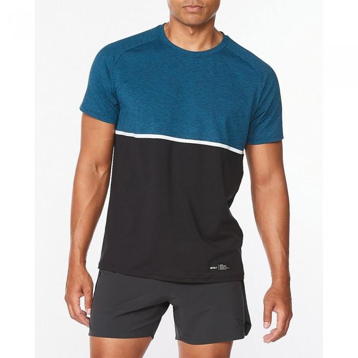 [해외]2XU Motion Colour Block Short Sleeve T-Shirt 6138230928 Aquamarine / Black