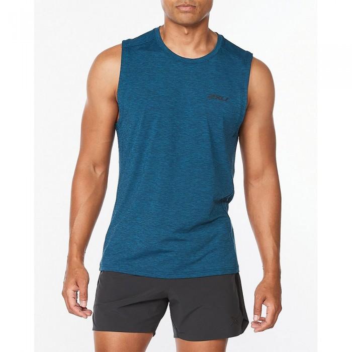 [해외]2XU Motion Sleeveless T-Shirt 6138230940 Aquamarine / Black