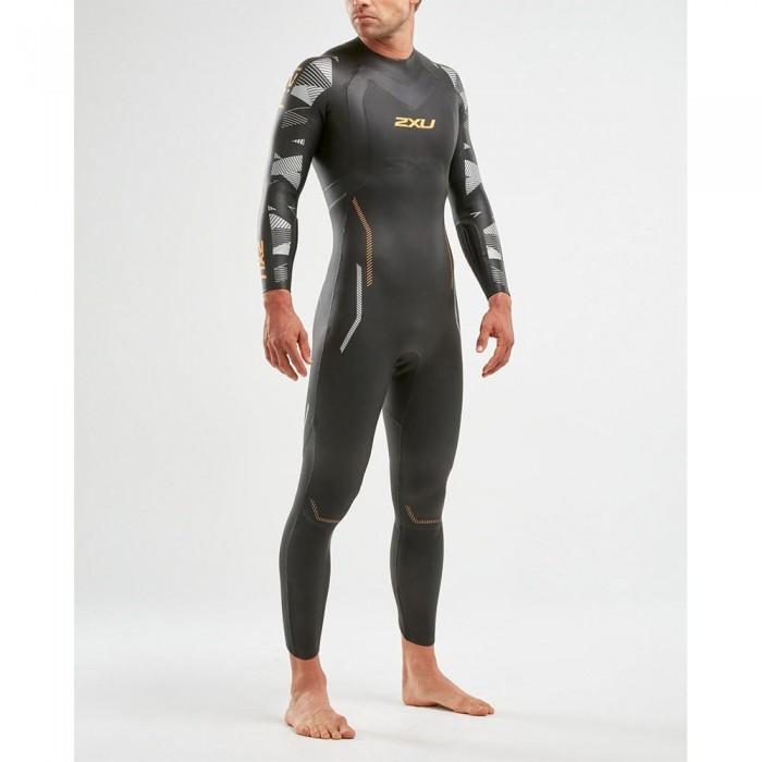[해외]2XU P:2 Propel Long Sleeve Long Trisuit 6138230950 Black / Orange Fizz