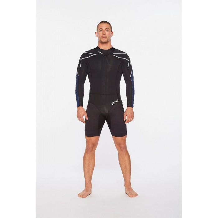 [해외]2XU Pro-Swim Run SR1 Propel Long Sleeve Trisuit 6138230970 Black / Blue Surf Print