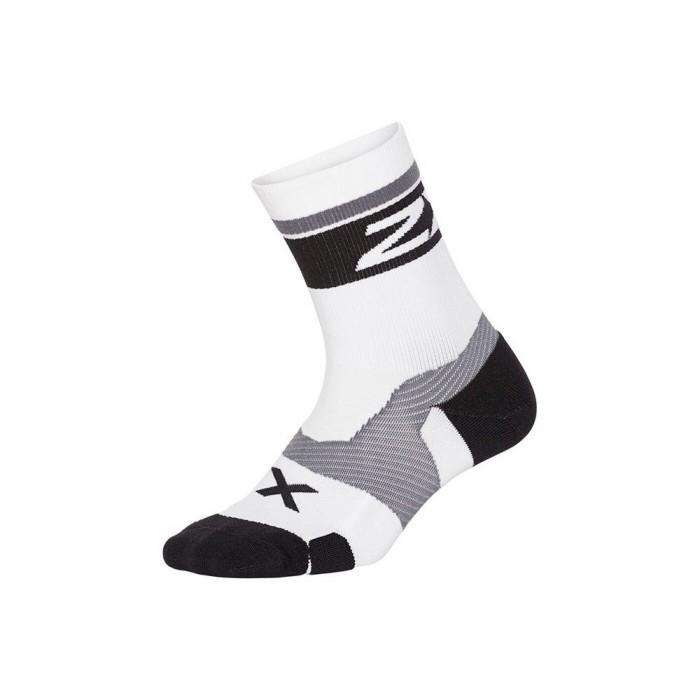 [해외]2XU Vector Cushion Crew Half Socks 6138230986 White / Black