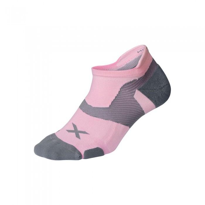 [해외]2XU Vector Cushion Short Socks 6138230990 Dusty Pink / Grey