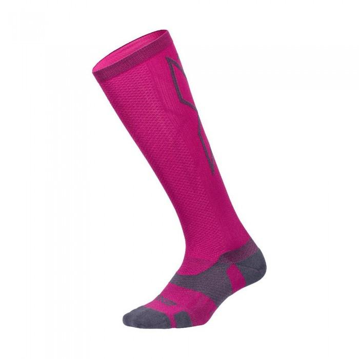 [해외]2XU Vector Light Cush High Socks 6138230992 Hot Pink / Grey
