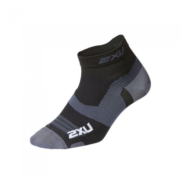 [해외]2XU Vector Ultralight 1/4 Crew Socks 6138230996 Black / Titanium