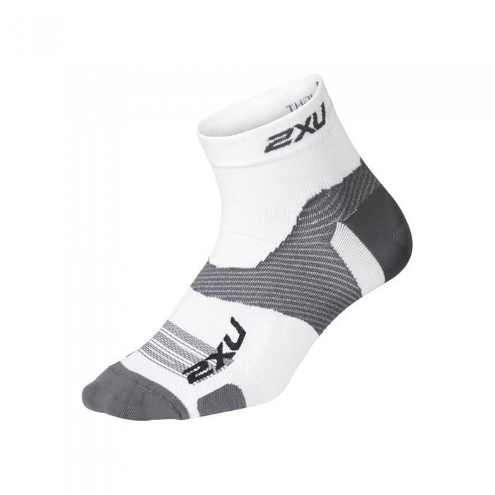 [해외]2XU Vector Ultralight 1/4 Crew Socks 6138230997 White / Grey