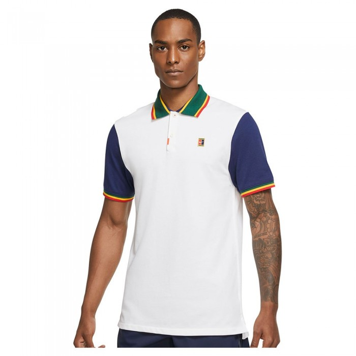 [해외]나이키 Court The Slim Fit Short Sleeve Polo 12138126025 White / Binary Blue