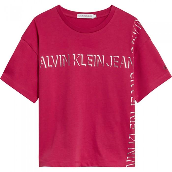 [해외]캘빈클라인 JEANS Linear Lines Logo Short Sleeve T-Shirt 15138226616 Raspberry Smoothie