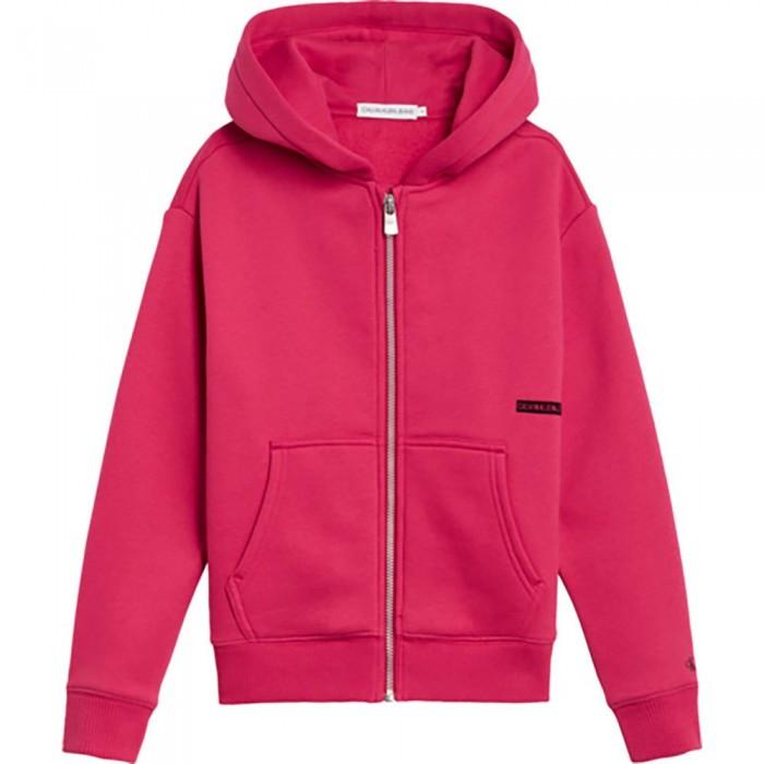 [해외]캘빈클라인 JEANS Micro Flock Relaxed Full Zip Sweatshirt 15138226617 Raspberry Smoothie