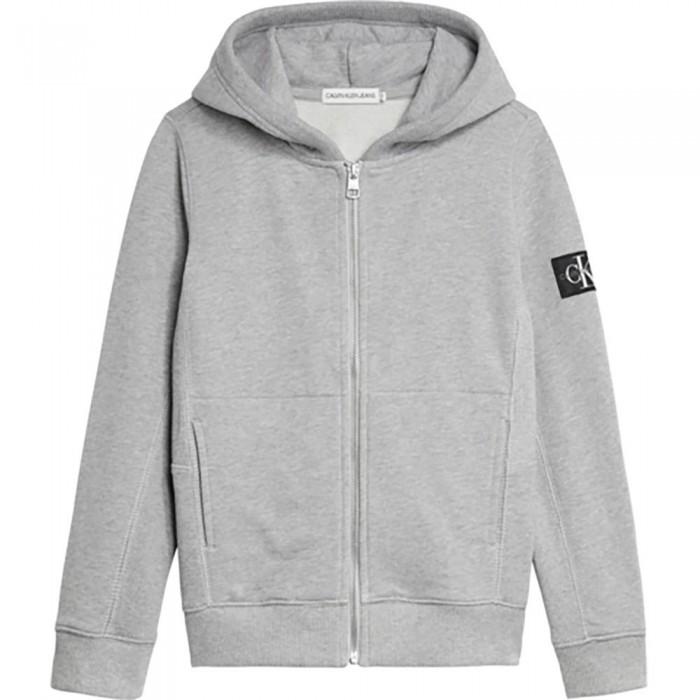 [해외]캘빈클라인 JEANS Rib Blocking Badge Full Zip Sweatshirt 15138226627 Light Grey Heather