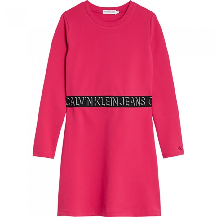[해외]캘빈클라인 JEANS Shadow Logo Skater Long Sleeve Short Dress 15138226630 Raspberry Smoothie
