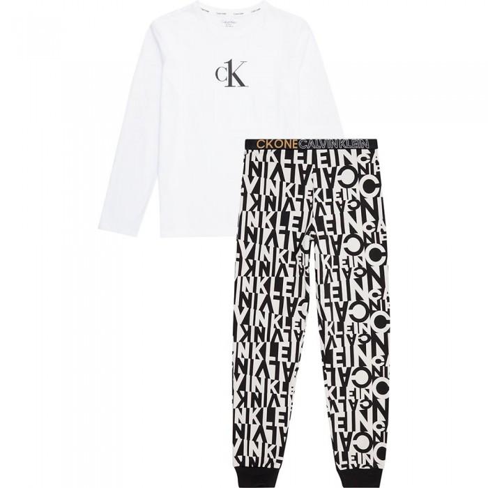 [해외]캘빈클라인 언더웨어 Knit Long Sleeve Set Pants Pyjama 15138227597 Broken Stripe White Aop / W / Pvh white