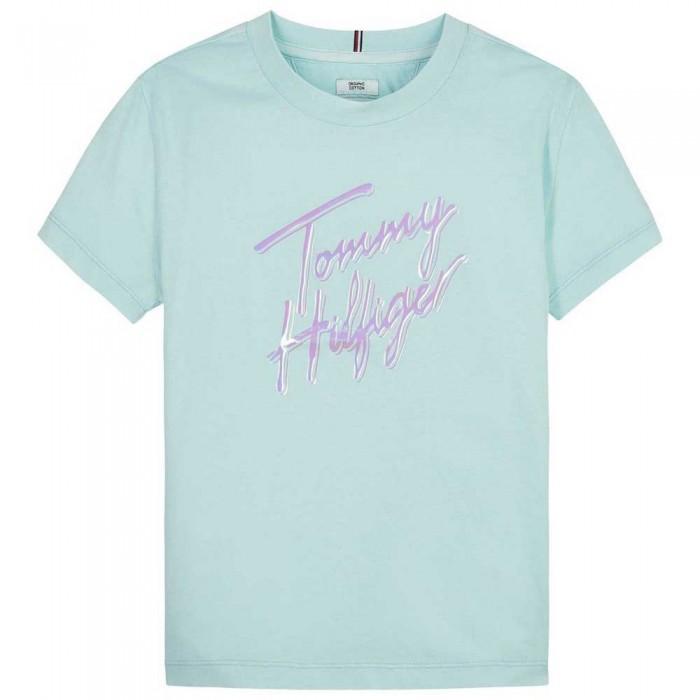 [해외]타미힐피거 KIDS Script Print Short Sleeve T-Shirt 15138054754 Frost Blue