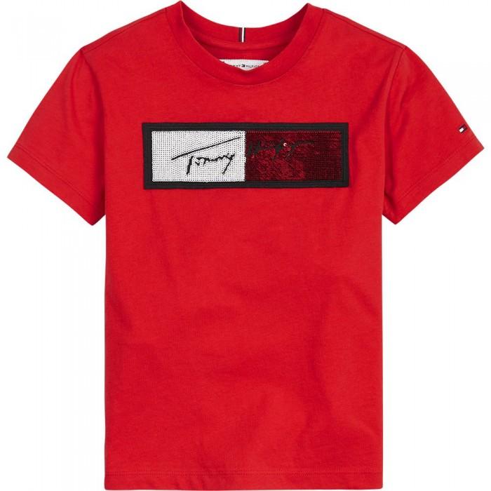 [해외]타미힐피거 KIDS Sequins Flag Short Sleeve T-Shirt 15138164915 Deep Crimson