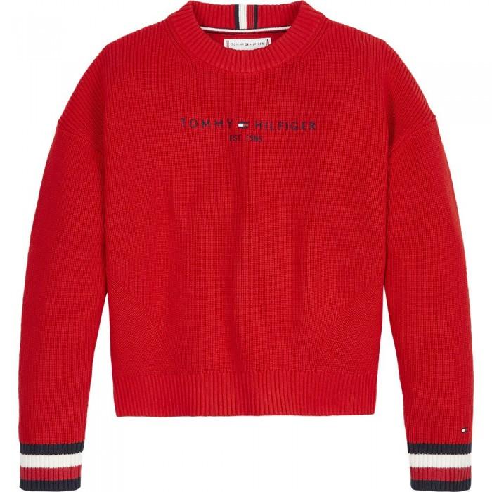 [해외]타미힐피거 KIDS Essential Logo Dress Sweatshirt 15138164917 Deep Crimson