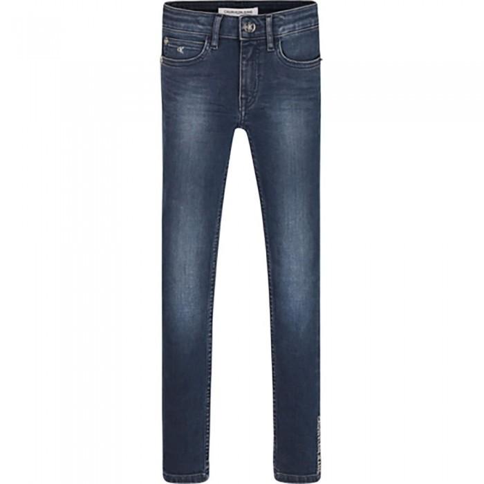 [해외]캘빈클라인 JEANS Super Skinny Mr Washed Jeans 15138226633 Washed High Low Blue Stretch