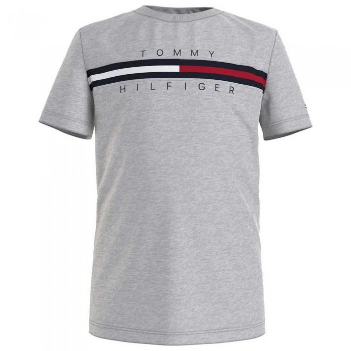 [해외]타미힐피거 KIDS Flag Rib Insert Short Sleeve T-Shirt 15138054646 Light Grey Heather