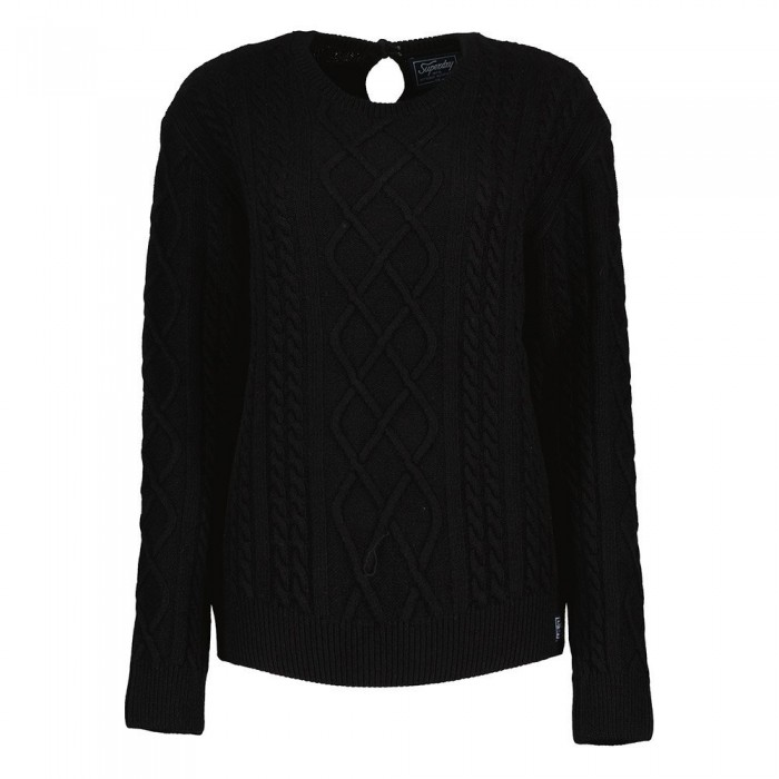 [해외]슈퍼드라이 Premium Cable Crew Sweater Black