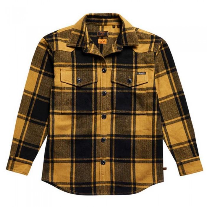 [해외]슈퍼드라이 Check Long Sleeve Shirt Gold Buffalo Check