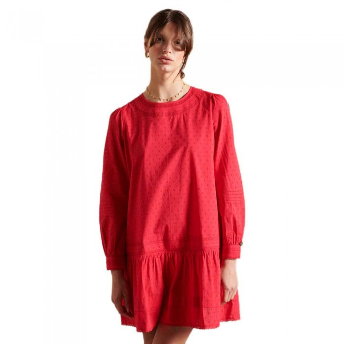 [해외]슈퍼드라이 Lace Short Dress Campus Red