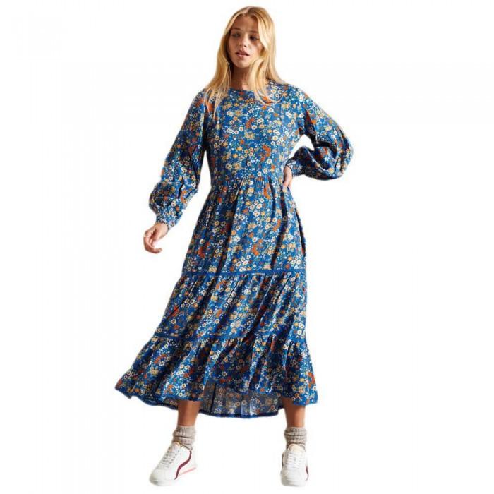 [해외]슈퍼드라이 Woven Ditsy Dress Blue Ditsy