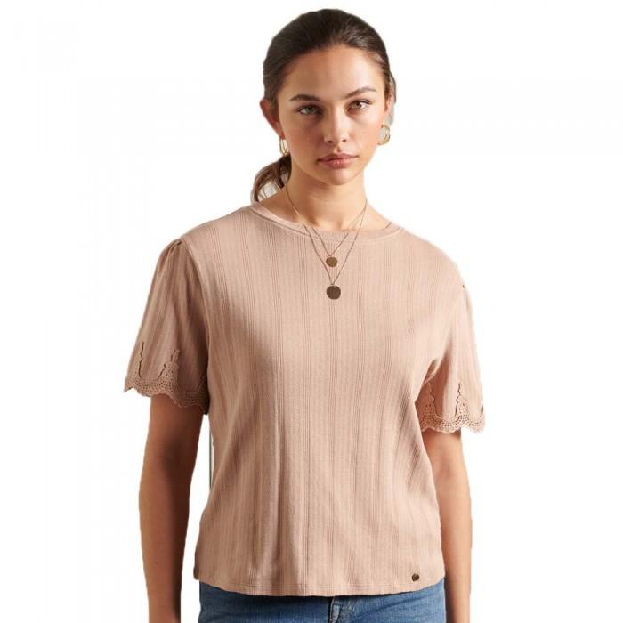 [해외]슈퍼드라이 Embroidered Short Sleeve T-Shirt Natural