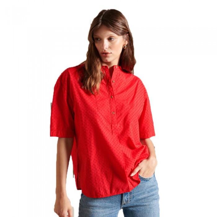 [해외]슈퍼드라이 Grandad Collar Short Sleeve Blouse Campus Red