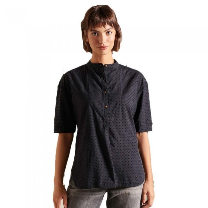 [해외]슈퍼드라이 Grandad Collar Short Sleeve Blouse Jet Black