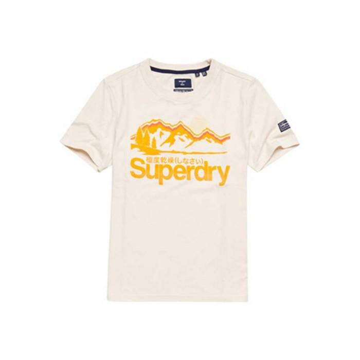 [해외]슈퍼드라이 Core Logo Great Outdoors Short Sleeve T-Shirt Oatmeal Marl