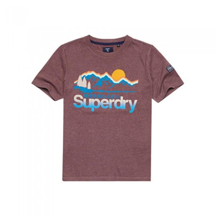 [해외]슈퍼드라이 Core Logo Great Outdoors Short Sleeve T-Shirt Rich Deep Burgundy Marl