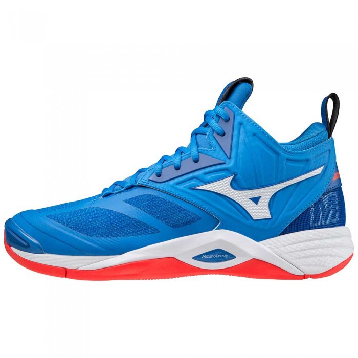 [해외]미즈노 Wave Momentum 2 Mid Shoes 3138140630 French Harbor Blue / White / Red