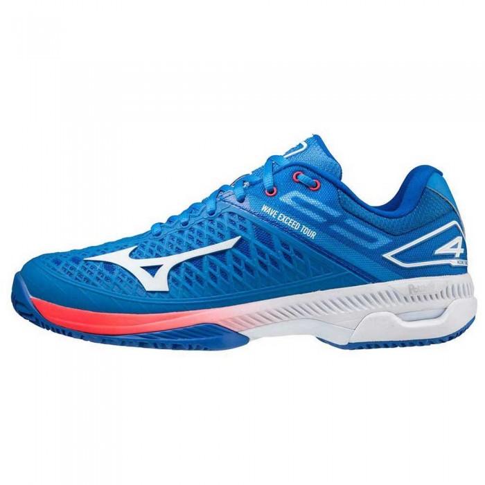 [해외]미즈노 Wave Exceed Tour 4 Clay Shoes 12138140602 French Harbor Blue / White / Red